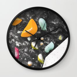Colorful summer bouldering gym wall climbing holds girls Wall Clock