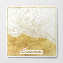 Lausanne Map Gold Metal Print