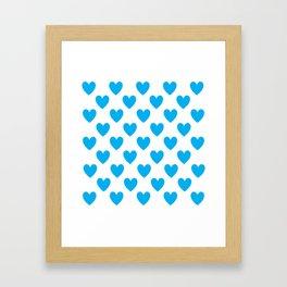 Blue Heart Patterns Framed Art Print