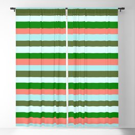 Eyecatching Salmon, Turquoise, Dark Olive Green, Light Cyan & Green Colored Lines/Stripes Pattern Blackout Curtain
