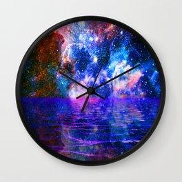 NEBULA COSMIC HORIZON OCEAN BLUE Wall Clock