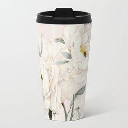 White Peonies Travel Mug