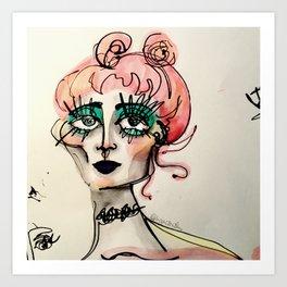 Grunge Girl With Green Eyes Art Print