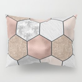 Marble hexagons and rose gold on black Pillow Sham