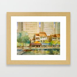 Singapore River watercolor painting id1270367 Framed Art Print