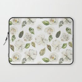 Green brown white watercolor modern floral leaves Laptop Sleeve