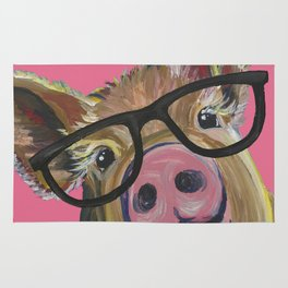 Pink Pig Painting, Cute Farm Animal Rug