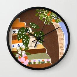 Orange Tree Blue Sky Wall Clock
