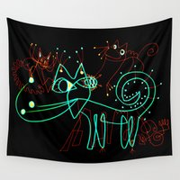 kittens Wall Tapestries featuring NEON KITTENS by Vanja Cankovic