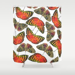 Butterfly Pattern Brown Red Orange Shower Curtain