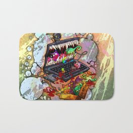 A Laptop Eating Multicolored Kittens Bath Mat