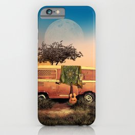 summer sunset landscape with skull and guitar iPhone Case