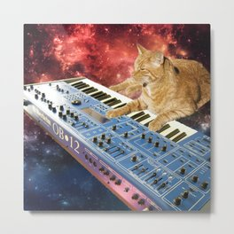 Space Cat with Synthesizer 1 Metal Print