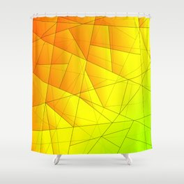 Bright summer pattern of yellow and green triangles and irregularly shaped lines. Shower Curtain