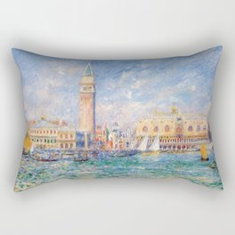 The Palace of the Doge's & St. Mark's Square Venice Italy landscape painting by Pierre Renoir Rectangular Pillow