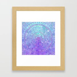Mandala Flower in Light Blue and Purple Framed Art Print