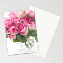 Pink Roses Bouquet Stationery Cards