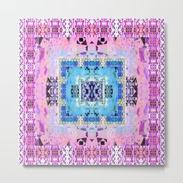 Fractalized Geometric Retro Digital Aztec Quilt Print Metal Print