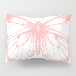 Vintage Pink Butterflly Illustration on Black Background Pillow Sham