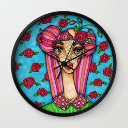 JennyMannoArt Colored Illustration/Rose Wall Clock