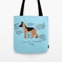 german shepherd Tote Bags featuring German Shepherd by Lindsay Beth
