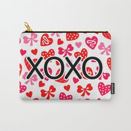 Valentine XOXO Red Hearts and Bows Carry-All Pouch