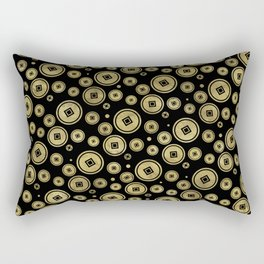 Chinese Coin Pattern Gold on Black Rectangular Pillow