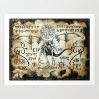 Dragon Runes Art Print