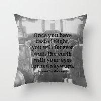da vinci Throw Pillows featuring Flight Da Vinci by KimberosePhotography