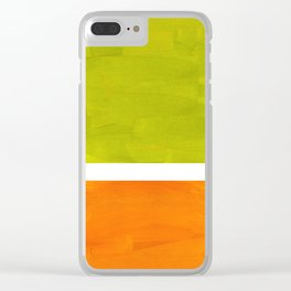 Retro Lime Green Minimalist Abstract Color Block Rothko Midcentury Modern Art Clear iPhone Case