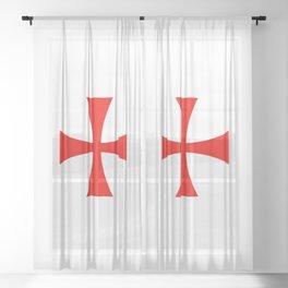 Knights Templar cross Sheer Curtain