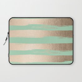 Painted Stripes Gold Tropical Ocean Green Laptop Sleeve