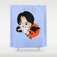 dragonball Shower Curtains featuring Chibi Videl by artwaste