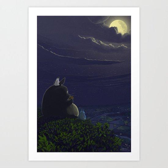 Totoro playing the ocarina Art Print