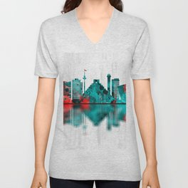 Cancun Mexico Skyline Unisex V-Neck