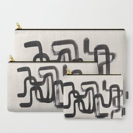 Mid Century Modern Minimalist Abstract Art Brush Strokes Black & White Ink Art Pipe Maze Carry-All Pouch