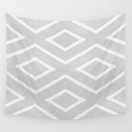 Stitch Diamond Tribal Print in Grey Wall Tapestry