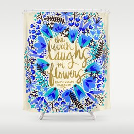 The Earth Laughs in Flowers – Gold & Blue Shower Curtain