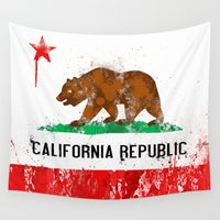 flag Wall Tapestries featuring California Flag by Evan