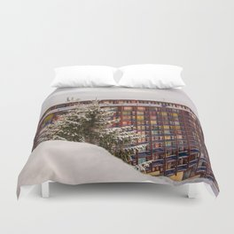 Mountain architecture colorful Duvet Cover