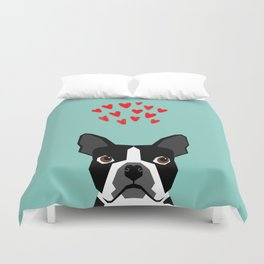 Boston Terrier - Hearts, Cute Funny Dog Cute Valentines Dog, Pet, Cute, Animal, Dog Love,  Duvet Cover