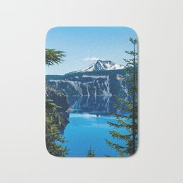 Crater Lake // Incredible National Park Views of the Dark Blue Waters Sky and Mountains through the Bath Mat