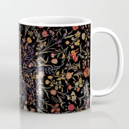 Medieval Flowers on Black Coffee Mug