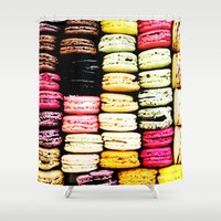 macarons Shower Curtains featuring Macarons LOVE by Lucrezia Semenzato