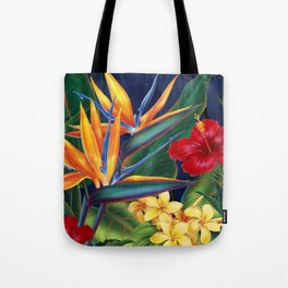 Tropical Paradise Hawaiian Floral Illustration Tote Bag