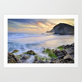 lonely sunset at the sea Art Print