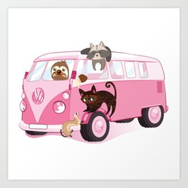 Happy pink bus Art Print