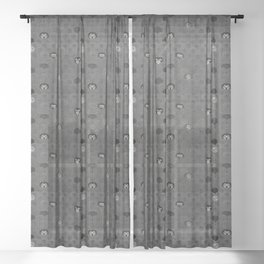 Rock Scales (Black and White) Sheer Curtain