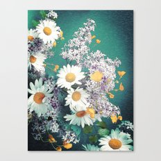Retro Daisies and Jade Canvas Print