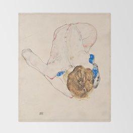 Egon Schiele - Nude with Blue Stockings, Bending Forward Throw Blanket